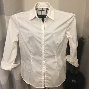 New York & Company White Button Down Top Size L